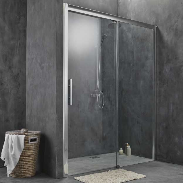 cabine de douche porte coulissante 2 vantaux 160cm 170cm ou sur mesure. Black Bedroom Furniture Sets. Home Design Ideas
