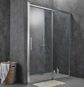 Cabine de douche porte coulissante 2 vantaux 160cm 170cm ou sur mesure - Cabine de douche sans porte ...