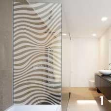 paroi de douche en verre serigraphie. Black Bedroom Furniture Sets. Home Design Ideas
